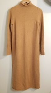 NWT Madewell Cashmere Mockneck Sweater Midi Dress Camel Tan Rolled Neck Medium