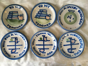 """Lot Of 6 M A Hadley Pottery 4"""" Plates/Coaster/Trinket Thank You~Teacher~Get Well"""
