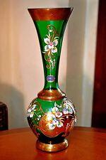VINTAGE Ceco Bohemian Vaso di cristallo verde smeraldo dipinti a mano