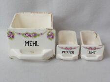 drei alte Gewürz Schütten Vorratsbehälter,Mehl,Pfeffer,Zimt,Bonner Rose,Nr.2769