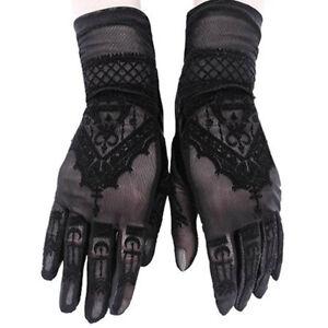 Restyle Gothic Victorian Spitze Abend Handschuhe - Henna Lace Mesh