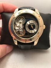 Elgin Mens Gold Tone Black Leather Strap Open Dial Automatic Watch FG2014S-H68