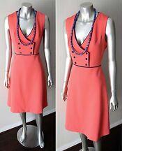 Mod GoGo Vintage 60s Double Breast Plunging V Neck A Line shift Boho Dress Sz S