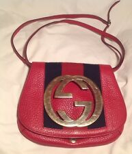 AUTH $1600 GUCCI TOM FORD RARE BLONDIE Women Red & Blue Leather Handbag GG Logo