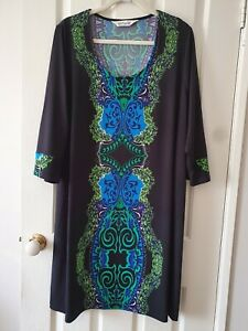 TS Virtuelle Black and Green Print Tunic Top Size L