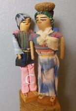 "Peru  Folk Art Dolls Set of 2 Hand Made 7.5""  Man Woman and Baby"