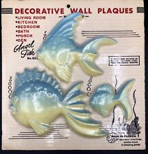 Vintage 3 Chalkware Angel Fish New In Shrink Wrap