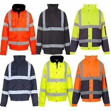 New Hi Viz High Visibility Quality Bomber Jacket Waterproof Security Coat Men's