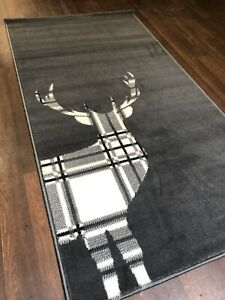 Modern Approx 5x2ft6 80x150cm Woven Good Quality Stag check Dark Grey Rugs/Mats
