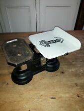 VICTORIAN CAST IRON & CERAMIC BUTTER SHOP SCALES