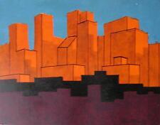 SUNDOWN CITY, OIL ON BOARD - Signed, Unframed, 8 x 10