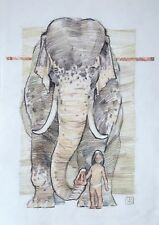Elephant with child charcoal sepia Mixed Media by Avdeev original drawing Russia