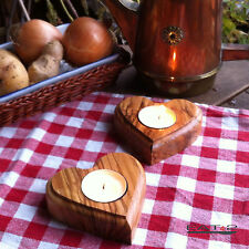 2 X Candle Stand Candlestick Tealight Holder Present Wood Heart Valentine's Day