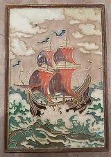 """Large delft cloisonné tile  Koopvaarder 18e eeuw """" Merchant vessel 18e century"""""""