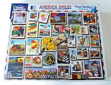 NEW White Mountain Jigsaw Puzzle AMERICA SMILES 1000 Pc 24x30 USA Stamp Collage