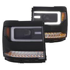 For Chevy Silverado 1500 16-18 Headlights Black U-Bar Projector Headlights w LED