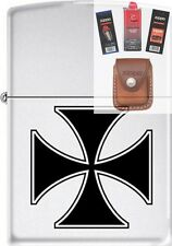 Zippo ZCB62204 Iron Cross Lighter + FUEL FLINT WICK POUCH GIFT SET