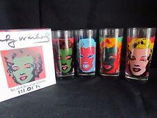 Andy Warhol Marilyn Monroe Block 4 Beverage Glass set in box