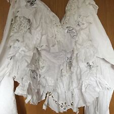 OSFA RITANOTIARA BUSTLE SHRUG CAPE SKIRT PIRATE WENCH STEAMPUNK GOTHIC WHITE