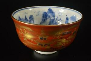 Z8938: Japan Kutani-ware Bird Pattern TEA BOWL Green tea tool, auto w/signed box
