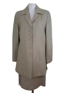 CCF Collection Womens 2 Pc Suit Size 12 Beige Linen Skirt Long Blazer NWT