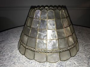"Vintage (Mother Of Pearl) Capiz Shell Lamp Shade Kappa Shell MCM 16"" Dia"