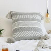 Cotton Tassels Knit Geometric Chevrons Cushion Cover Home Cafe Decor Pillow Case