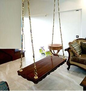 Indian Handmade Love seat Wooden Ceiling Swing With Metal chain