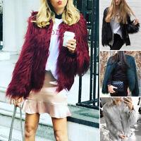 Winter Women's Shaggy Mongolian Faux Fur Open Front Short Jacket Fluffy Coat