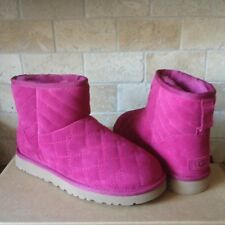 UGG Arden Lonely Heart Pink Suede Sheepskin Classic Mini Boots Size US 9 Womens