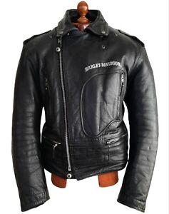 Leather HARLEY DAVIDSON Motorcycle Biker Police Cafe Racer Brando Jacket Coat