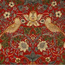Oilcloth Fabric, William Morris Strawberry Thief Scarlet Design, Per Meter