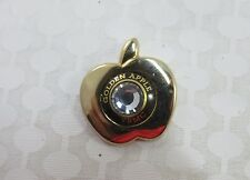 Vintage Golden Apple Pin or Tie Tack with Rhinestone Center