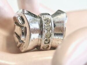 VINTAGE RETRO 1930'S 1940'S STERLING BOW RING GEOMETRIC LINES CLARK AND & COOMBS