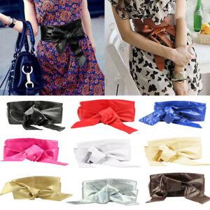 Ladies Women New Leather Wrap Corset Cinch Waist Wide Long PU Belt Bow Style