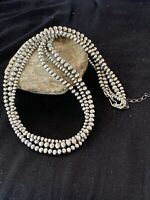 """Native American Sterling Silver Navajo Pearls Necklace 24"""" 3S Gift 4,5,6 mm 1402"""
