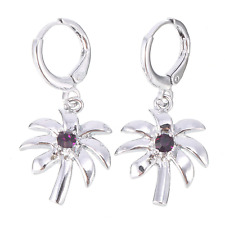 Earrings 9ct White Gold GF Silver Amethyst Drop Dangle Palm Trees Valentine Gift