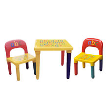 New ABC Alphabet Children Plastic Table and Two Chairs Set Gift-Kids Toddlers