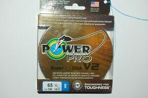 power pro braided fishing line super 8 slick V2 65lb 150yd spool blue