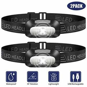 SYOSIN LED Head Torch, 2 Pack Lightweight Headlamp, USB Rechargeable Super