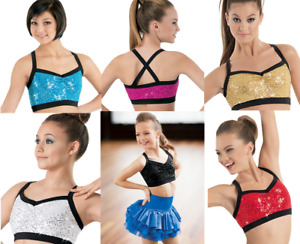Dance Bra Crop Top Sequin MANY SIZES & COLORS Jazz Tap Baton Balera SQ3254
