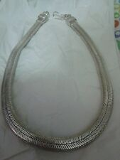 collana bagno argento indiano PIATTA 167 gr INDIAN   snake necklace 50x1.2 CM
