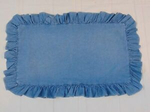 RALPH LAUREN Denim Pillow Sham Ruffled Pillowcase Blue King Size VTG u.s.a