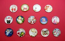 Cat Angel Santa 25mm Round craft Cameos 14 Mixed Glass Domed 3-D Christmas Dog