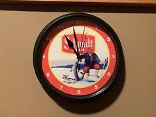 Schmidt Beer Ice Fishing Wall Clock / sign -- EXCELLENT CONDITION