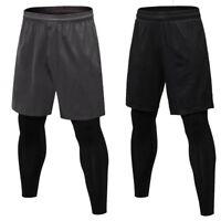 New Men Running Slim Pants 2 In 1 Breathable Sports Training Workout Leggings