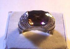 Designer Judith Ripka Smokey Quartz Sterling Silver Ring size 7 - 11g