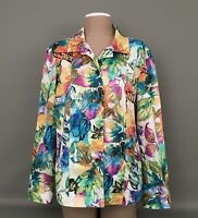 ADDITIONS By Chico's Women's Sz.2 Multicolor Floral Print Long Sleeve Jacket A++