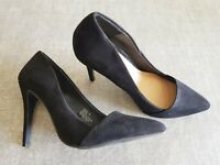 Atmosphere size 6 (39) black faux suede pointed toe stiletto heel court shoes