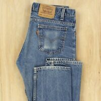 vtg usa made LEVI's 505 jeans 34 x 33 tag faded blue orange tab distressed